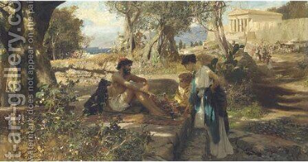 A travelling merchant in ancient Greece by Henrik Ippolipovich Semiradskii - Reproduction Oil Painting