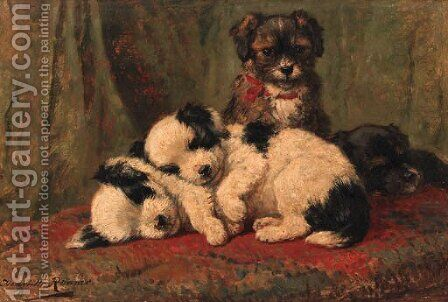 The watchful one by Henriette Ronner-Knip - Reproduction Oil Painting
