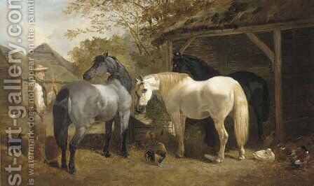 A farmhand, horses, chickens and ducks in a farmyard by Henry Woollett - Reproduction Oil Painting