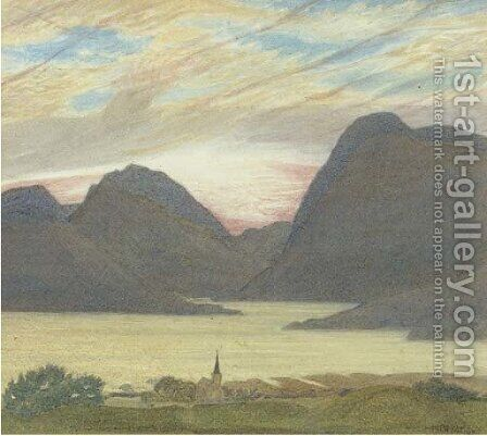 A Norwegian fjord by Henry A. (Harry) Payne - Reproduction Oil Painting