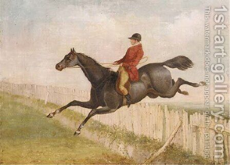 A huntsman on horseback jumping a fence by Henry Jnr Alken - Reproduction Oil Painting
