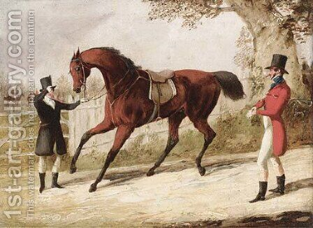 A huntsman and his groom with a saddled bay hunter, the meet beyond by Henry Thomas Alken - Reproduction Oil Painting