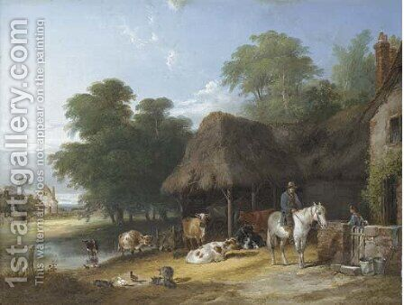 Figures and livestock by a riverside farmhouse by Charles and Henry Shayer - Reproduction Oil Painting