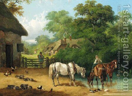 A boy watering horses in a farmyard by Charles and Henry Shayer - Reproduction Oil Painting