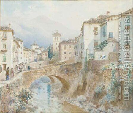 Figures by a bridge at Granada, Spain by Henry B. Wimbush - Reproduction Oil Painting