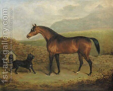 The Sligo Waxy, a bay racehorse, with a Manchester terrier, in a field by Henry Bernard Chalon - Reproduction Oil Painting