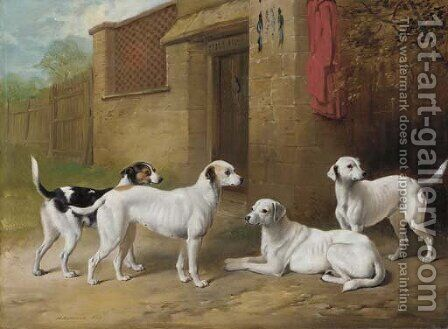 Harrier hounds outside a kennel by Henry Barraud - Reproduction Oil Painting