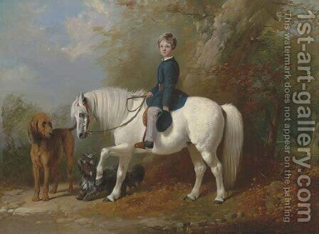 Master Beresford Lowndes on his pony with two dogs at the edge of a wood by Henry Barraud - Reproduction Oil Painting