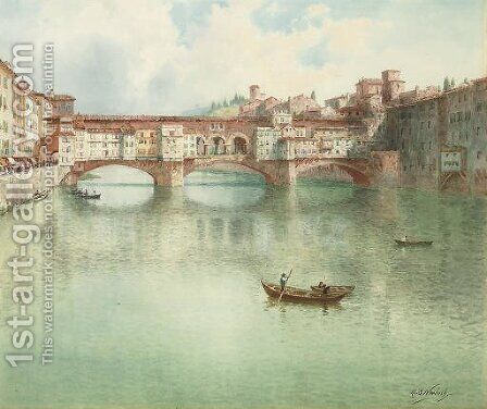 The Ponte Vecchio on the River Arno, Florence by Henry B. Wimbush - Reproduction Oil Painting