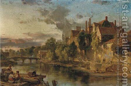 The Old Bridge and Ancient Palace on the Medway at Maidstone by Henry Bright - Reproduction Oil Painting