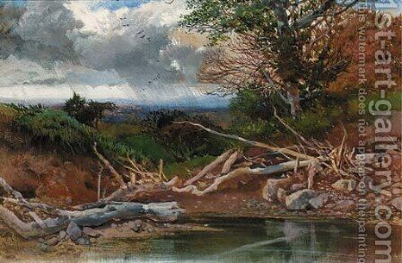 A pond in a wooded landscape by Henry Bright - Reproduction Oil Painting
