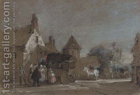 Figures disembarking from a carriage in a French village by Henry Bright - Reproduction Oil Painting