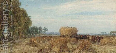 Harvesting in Sussex by Henry Brittan Willis, R.W.S. - Reproduction Oil Painting