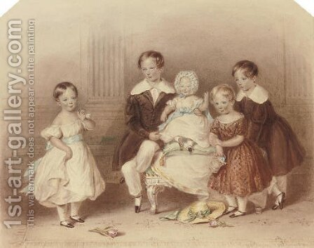A group portrait of five children by Henry Bryan Ziegler - Reproduction Oil Painting