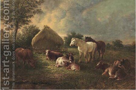 Cows and horses grazing in a pasture by Henry Charles Bryant - Reproduction Oil Painting