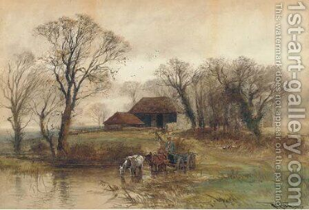 A horse-drawn cart crossing a ford by Henry Charles Fox - Reproduction Oil Painting