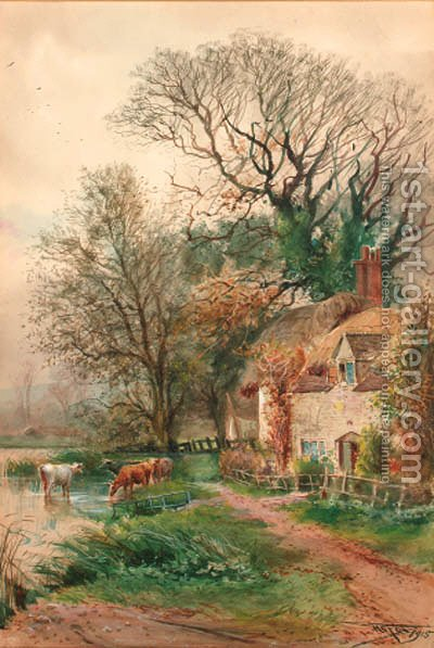 Old cottages at Burpham, Sussex by Henry Charles Fox - Reproduction Oil Painting