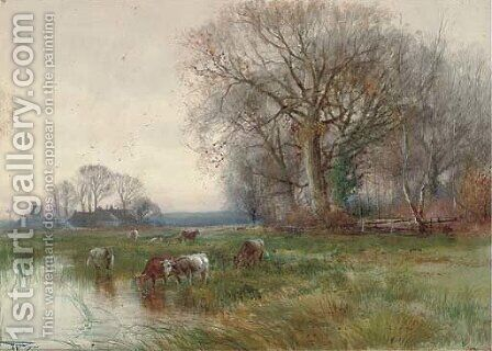 A backwater on the Ouse, Huntingdonshire by Henry Charles Fox - Reproduction Oil Painting