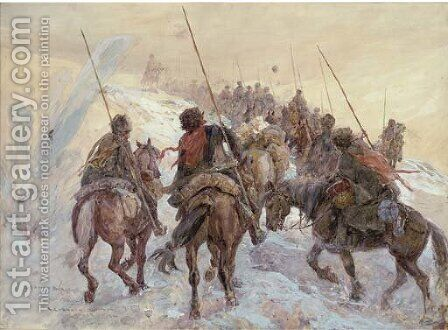 The Russian Front, a Cossack convoy under fire by Henry Charles Seppings Wright - Reproduction Oil Painting