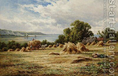 Harvesting on the Sussex Downs, near Eastbourne by Henry Hillier Parker - Reproduction Oil Painting