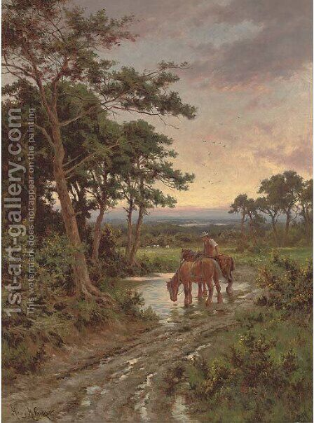 Watering the horses, sunset by Henry Hillier Parker - Reproduction Oil Painting