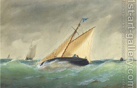 A cutter heeling in an offshore breeze by Henry E. Tozer - Reproduction Oil Painting
