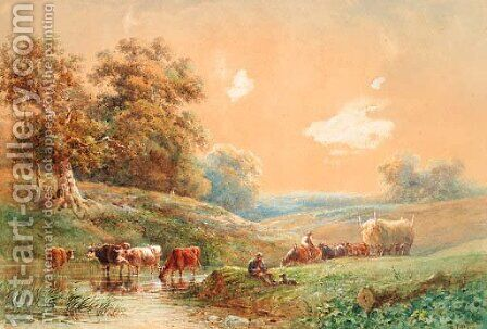 Figures with a horse and cart and cattle watering by a stream by Henry Earp - Reproduction Oil Painting