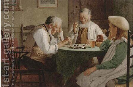 Concentrated on a game of draughts by Henry Spernon Tozer - Reproduction Oil Painting