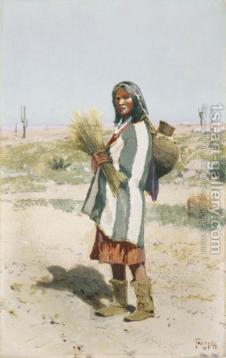 Apache Water Carrier by Henry Farny - Reproduction Oil Painting