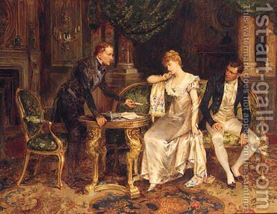 A Difficult Decision by Henry Gillard Glindoni - Reproduction Oil Painting