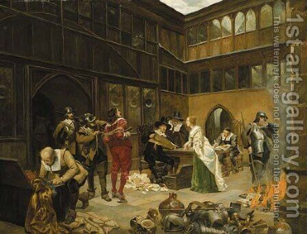 Confiscation by Henry Gillard Glindoni - Reproduction Oil Painting