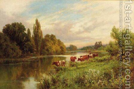 Cattle watering by a tranquil river by Henry Hillier Parker - Reproduction Oil Painting