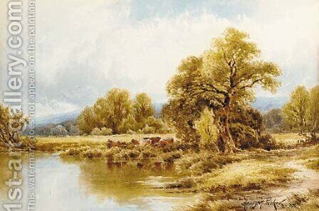 Near Pangbourne-on-Thames by Henry Hillier Parker - Reproduction Oil Painting