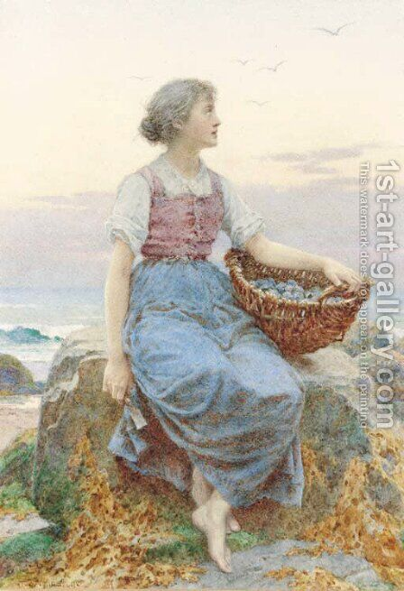 Gathering mussels by Henry James Johnstone - Reproduction Oil Painting