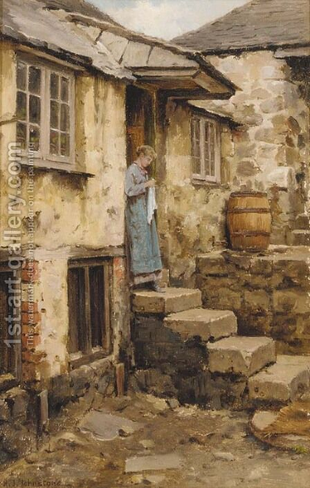 The cottage door, St. Ives, Cornwall by Henry James Johnstone - Reproduction Oil Painting