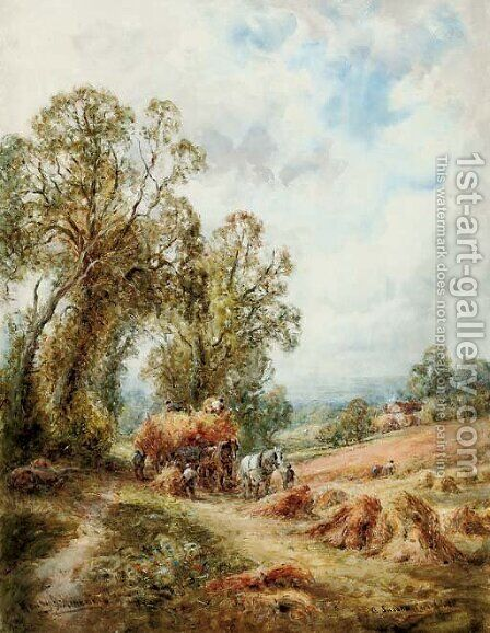 A Sussex cornfield by Henry John Kinnaird - Reproduction Oil Painting