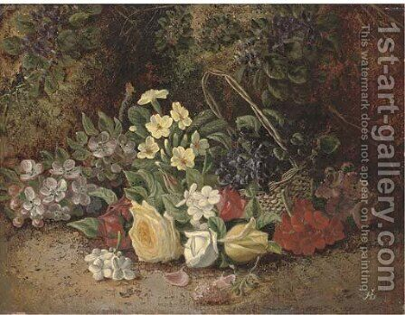 Summer flowers in a wicker basket, on a mossy bank by Henry J. Livens - Reproduction Oil Painting