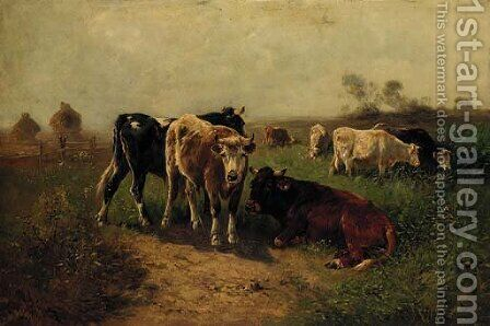 Cattle grazing in a summer meadow by Henry J. Schouten - Reproduction Oil Painting