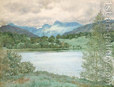 Loughrigg Tarn, Westmorland, Lake District, Cumbria by Henry Holiday - Reproduction Oil Painting