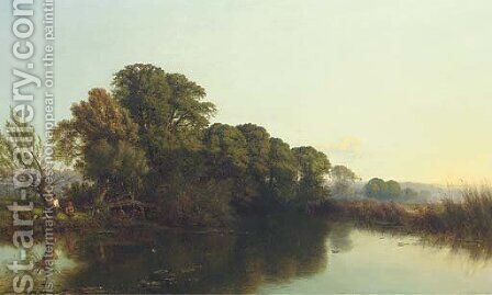 A summer's evening on the Thames by Henry John Boddington - Reproduction Oil Painting