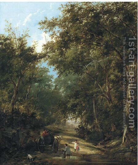 Children filling a water wagon, traditionally identified as a lane near Sevenoaks by Henry John Boddington - Reproduction Oil Painting
