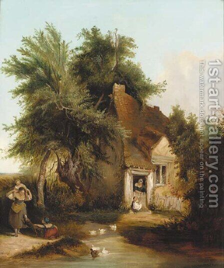 Figures before a cottage in a wooded landscape by Henry John Boddington - Reproduction Oil Painting