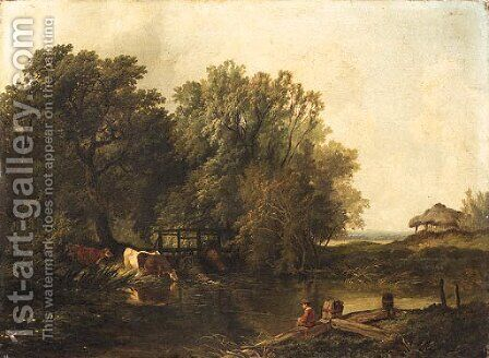 A wooded Landscape with a Boy fishing and Cattle watering by a Pool by Henry John Boddington - Reproduction Oil Painting