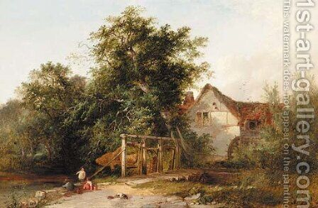 The old water mill with eel nets by Henry John Boddington - Reproduction Oil Painting