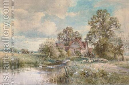 An old mill in Suffolk by Henry John Kinnaird - Reproduction Oil Painting