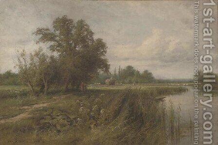 Haymaking on the Arun near Fittleworth, Sussex by Henry John Kinnaird - Reproduction Oil Painting