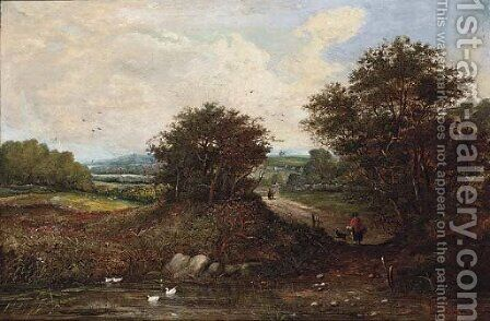 Figures in an extensive landscape by Henry Jutsum - Reproduction Oil Painting