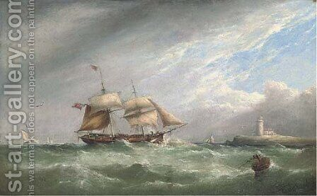 A merchant brig heaving-to off a lighthouse by Henry King Taylor - Reproduction Oil Painting