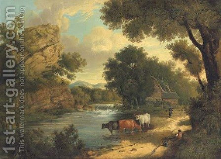 View near Knaresborough, with cattle and figures by a river by Henry Ladbrooke - Reproduction Oil Painting