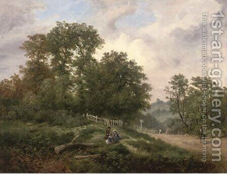 Children playing in an extensive wooded landscape by Henry Lines - Reproduction Oil Painting